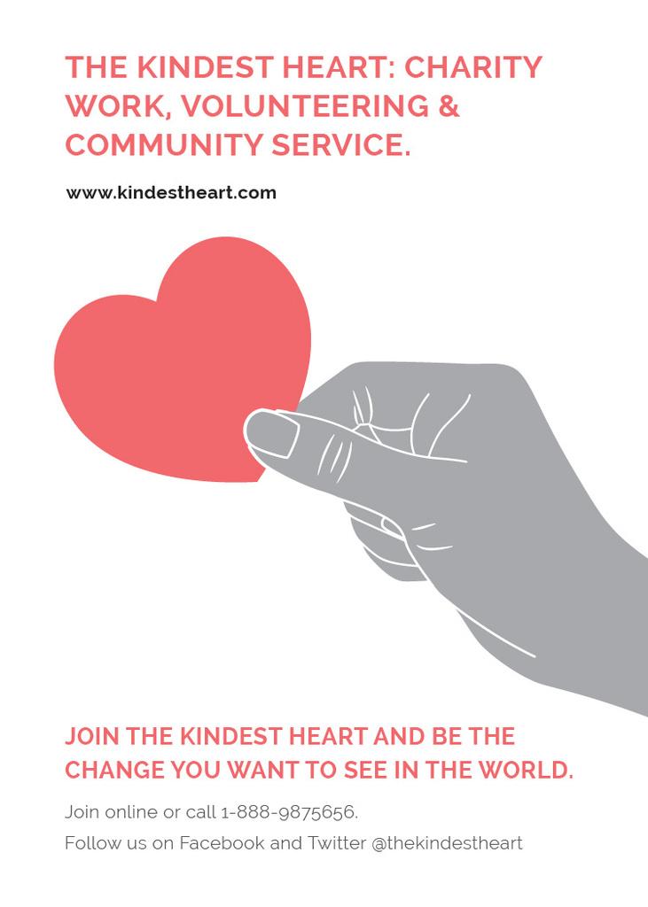 Ontwerpsjabloon van Flayer van Charity event Hand holding Heart in Red