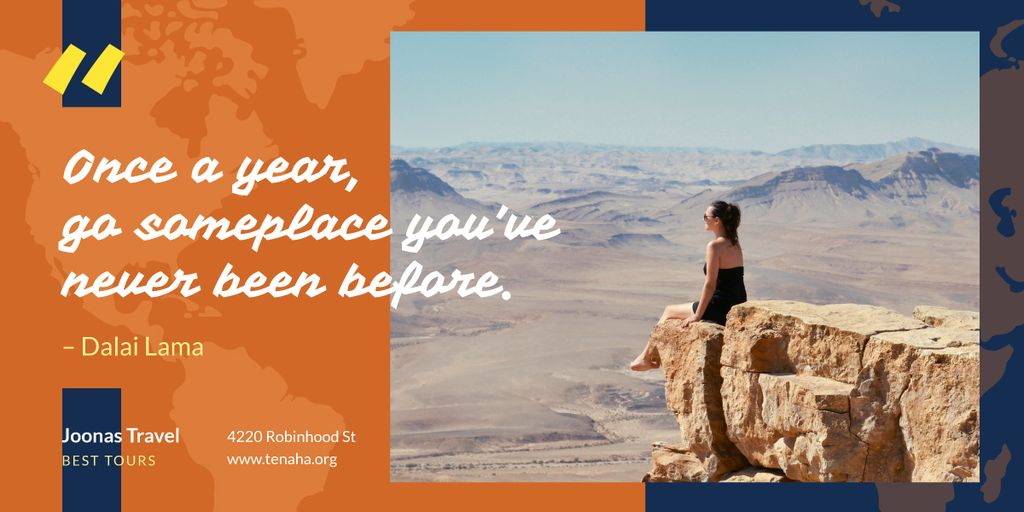 Travel Quote Woman Sitting on Rock Top — Crea un design