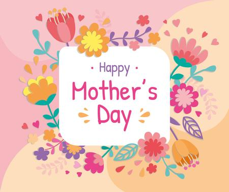 Mother's Day greeting in spring Flowers frame Facebook Modelo de Design