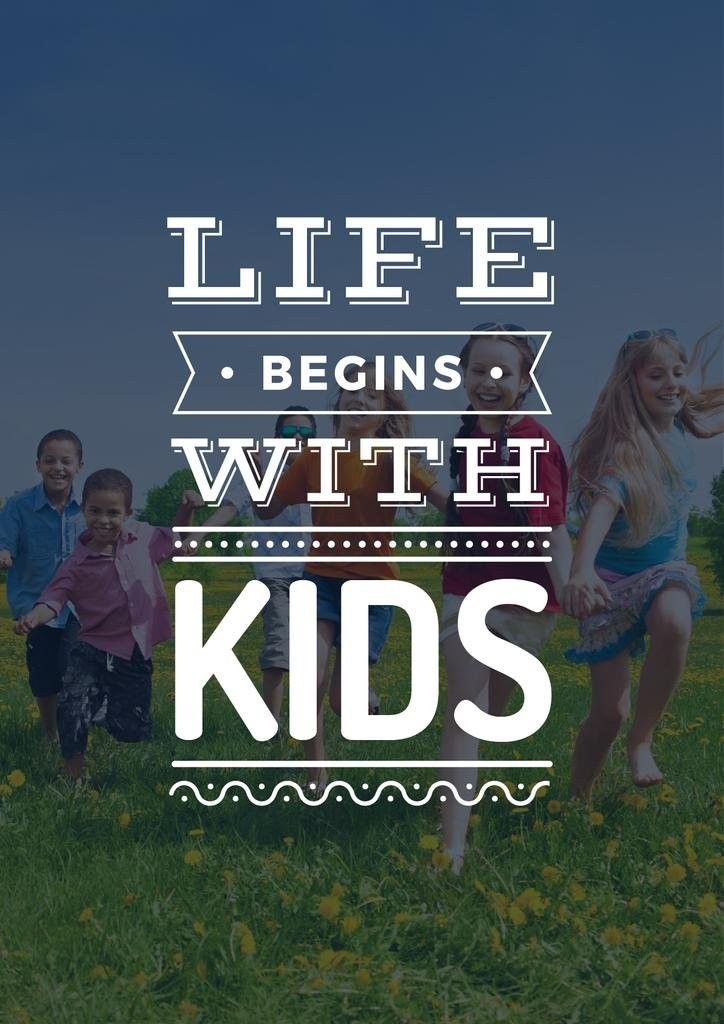 Motivational Quote with Kids on Green Meadow — Maak een ontwerp