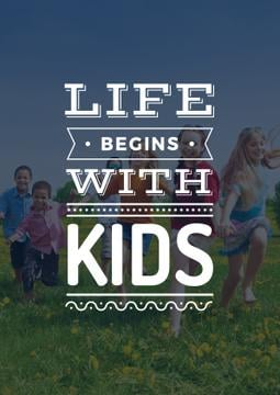 Motivational Quote with Kids on Green Meadow | Poster Template