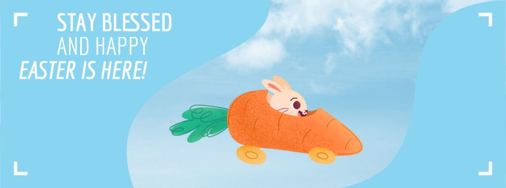 Bunny riding carrot car on Easter — Modelo de projeto