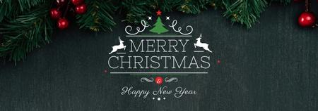 Template di design Christmas greeting Fir Tree Branches Tumblr