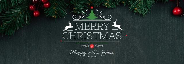 Plantilla de diseño de Christmas greeting Fir Tree Branches Tumblr