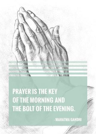 Plantilla de diseño de Religion Quote with Hands in Prayer Flayer