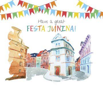 Festa Junina celebration garland in town