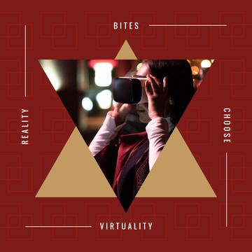 Virtuality Quote Woman Using VR Glasses | Instagram Ad Template