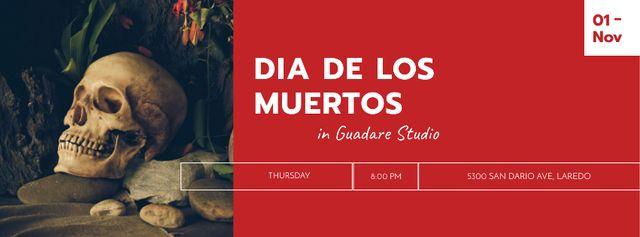 Dia De Los Muertos Celebration with Creepy Skull Facebook cover Modelo de Design