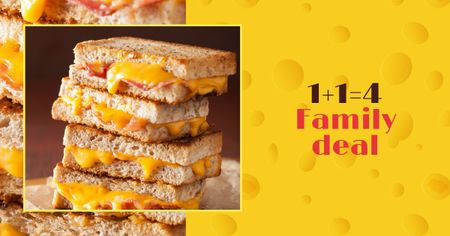 Ontwerpsjabloon van Facebook AD van Grilled Cheese dish offer