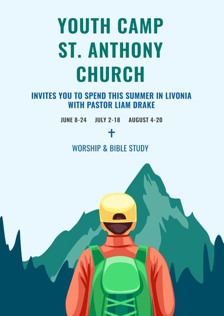 Youth religion camp of St. Anthony Church Poster – шаблон для дизайна