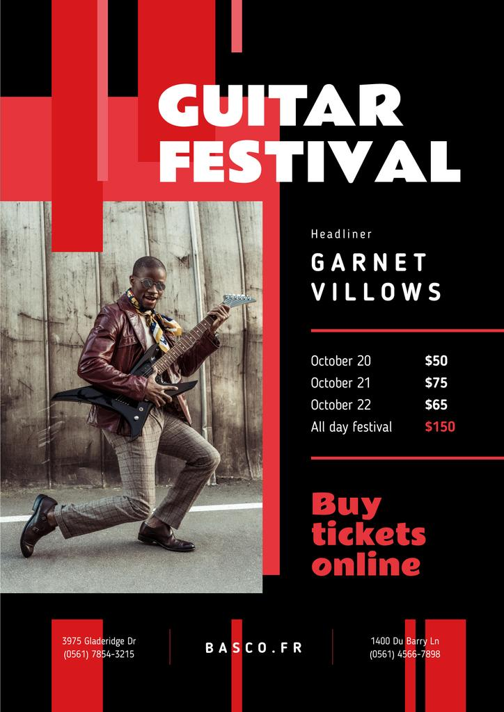 Music Festival Invitation Man Playing Guitar — Create a Design
