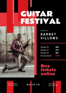 Music Festival Invitation Man Playing Guitar | Poster Template