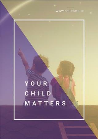 Two children sitting on roof Poster Modelo de Design