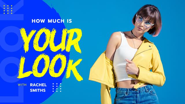 Fashion Blog Promotion Woman in Leather Jacket Youtube Thumbnail Design Template