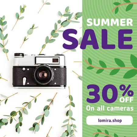 Ontwerpsjabloon van Instagram van Photography Sale Vintage Camera Leaves Frame