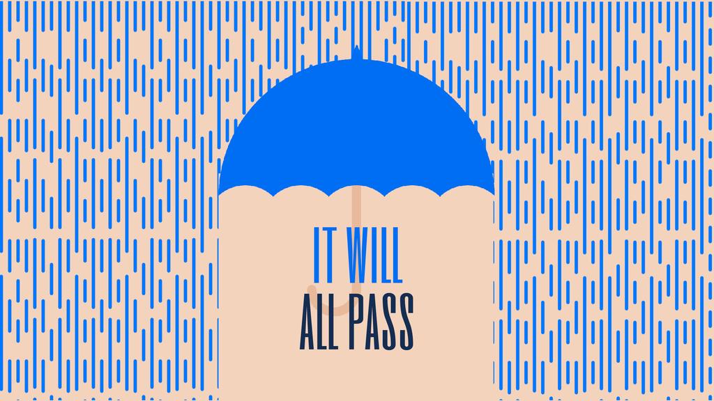 Inspiration Quote Blue Umbrella Under Falling Rain — Modelo de projeto