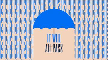 Inspiration Quote Blue Umbrella Under Falling Rain