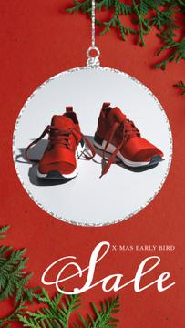 Xmas Offer Sport Shoes in Red | Vertical Video Template