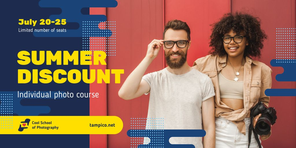Photography Event Offer Smiling Couple with Camera Image Design Template