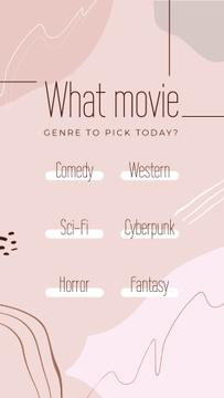 Movie genre choice game in pink