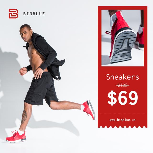 Sneakers Sale Sportive Man Running Instagramデザインテンプレート