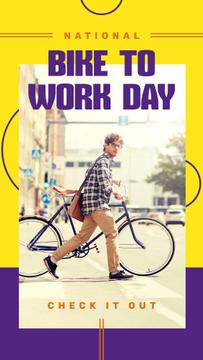 Man riding bicycle on Bike to Work Day