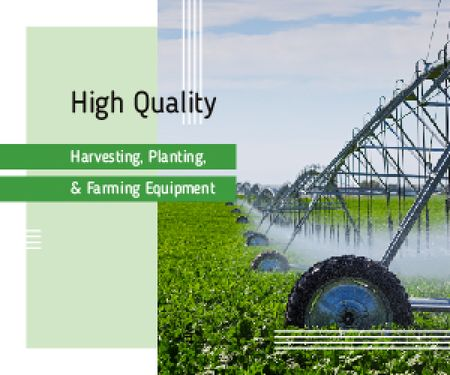 Plantilla de diseño de Farming Equipment on Green Field Medium Rectangle