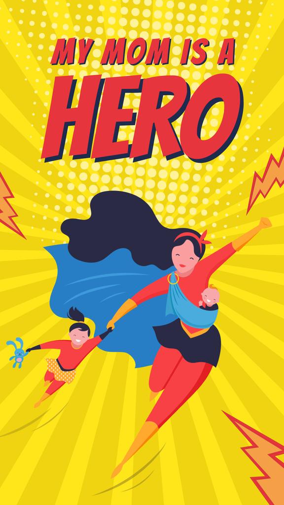 Super mom with her kids on Mother's Day — ein Design erstellen