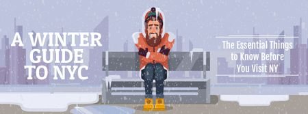 Plantilla de diseño de Man freezing on bench in winter city Facebook Video cover