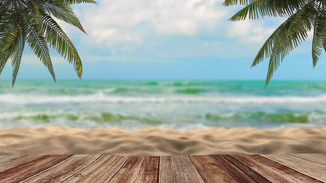 Plantilla de diseño de Landscape with Palms and wavy Sea Zoom Background