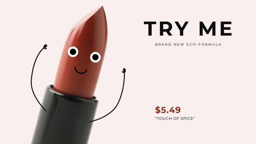 Lipstick Ad Funny Cartoon Red Lipstick   Full Hd Video Template — Створити дизайн