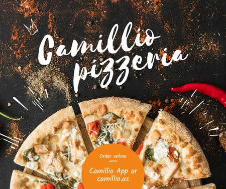 Modèle de visuel Pizzeria Ad with Delicious pieces of Pizza - Facebook