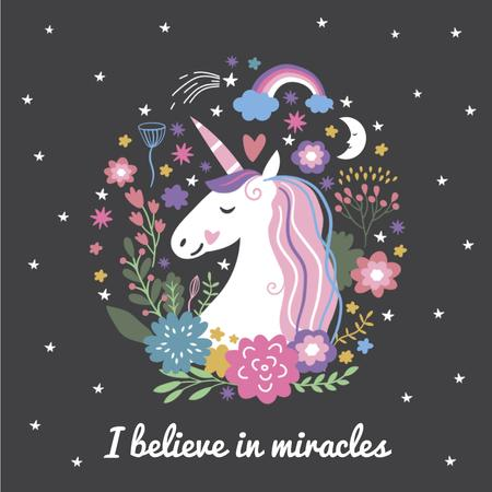 Ontwerpsjabloon van Animated Post van Unicorn in Flowers Frame