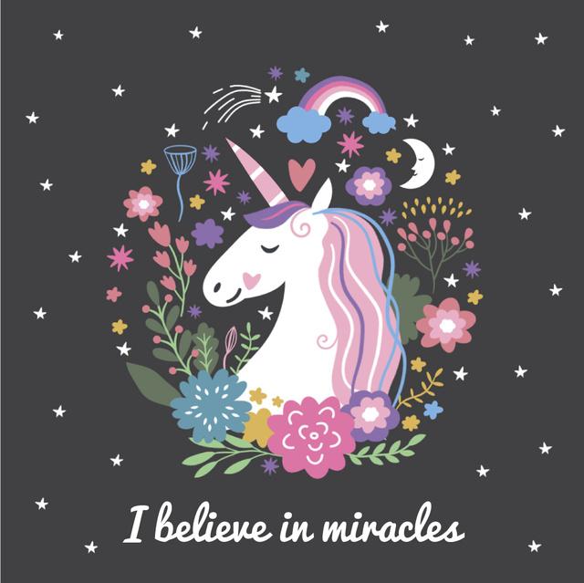 Unicorn in Flowers Frame Animated Post – шаблон для дизайну