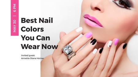 Female Hands with Pastel Nails for Manicure trends FB event cover Tasarım Şablonu