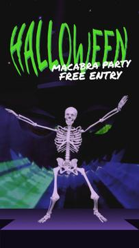 Halloween Party Invitation Scary Skeleton Dancing