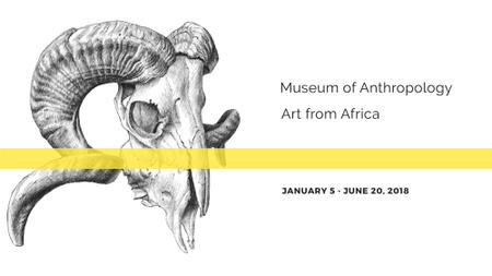 Museum invitation with animal Skull FB event cover Modelo de Design