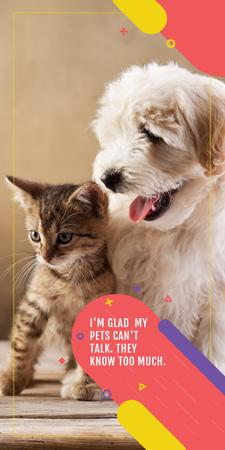 Plantilla de diseño de Pets clinic ad with Cute Dog and Cat Graphic