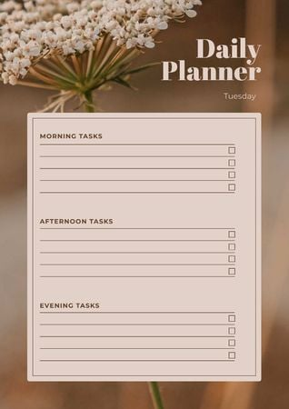 Daily Planner with Wild Flower Schedule Plannerデザインテンプレート