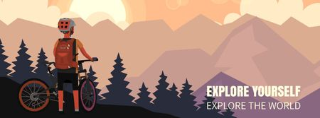Plantilla de diseño de Cyclist admiring Mountains view Facebook Video cover