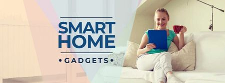 Smart Home ad with Woman using Vacuum Cleaner Facebook cover Modelo de Design