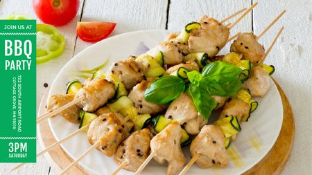 Ontwerpsjabloon van Title van BBQ Party Grilled Chicken on Skewers