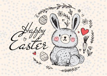 Happy Easter Greeting with Cute Bunny in Wreath