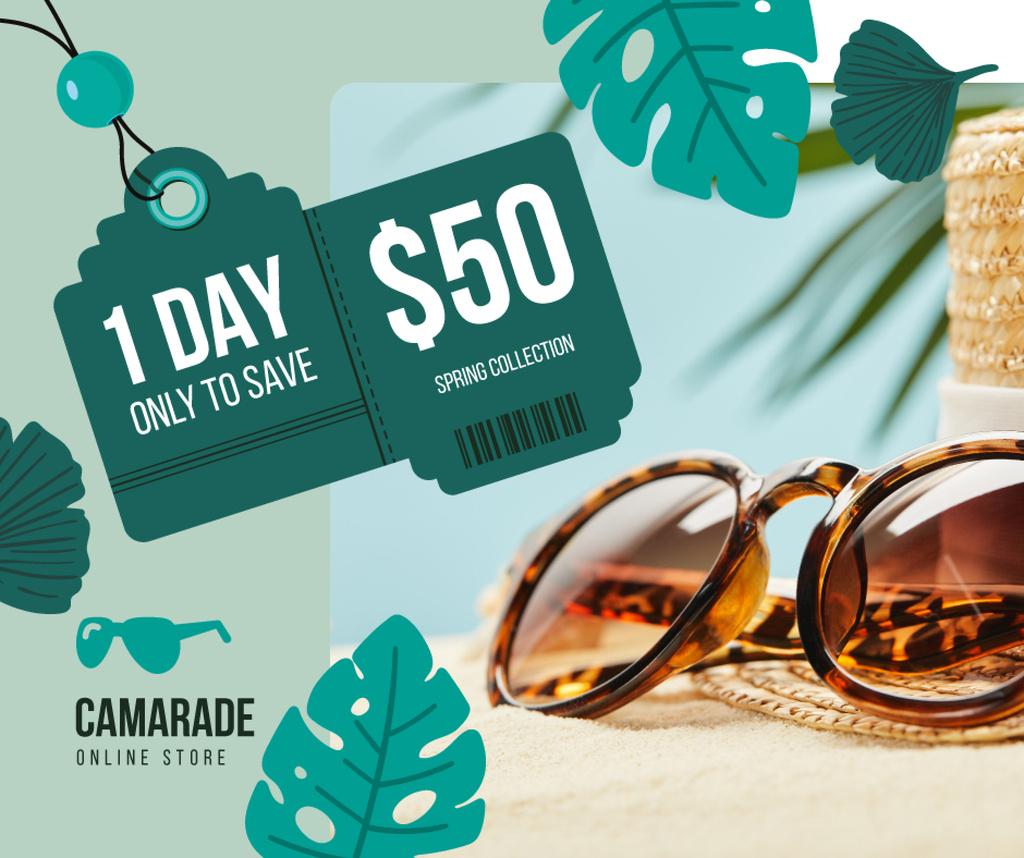 Designvorlage Sunglasses Sale Ad Stylish Vintage Glasses für Facebook