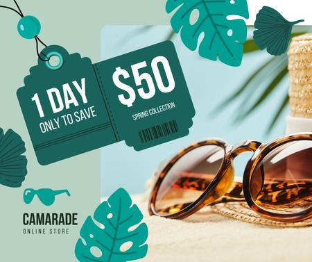 Sunglasses Sale Ad Stylish Vintage Glasses Facebook Design Template