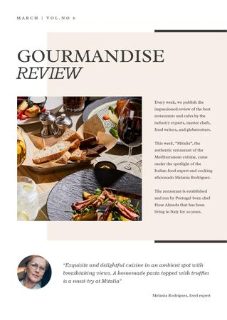 Restaurant Review with Food Expert Newsletter Modelo de Design