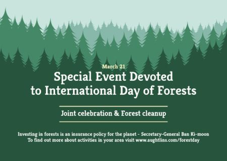 International Day of Forests Event Announcement in Green Postcard Modelo de Design