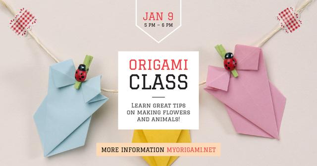 Origami class with paper animals Facebook AD Modelo de Design