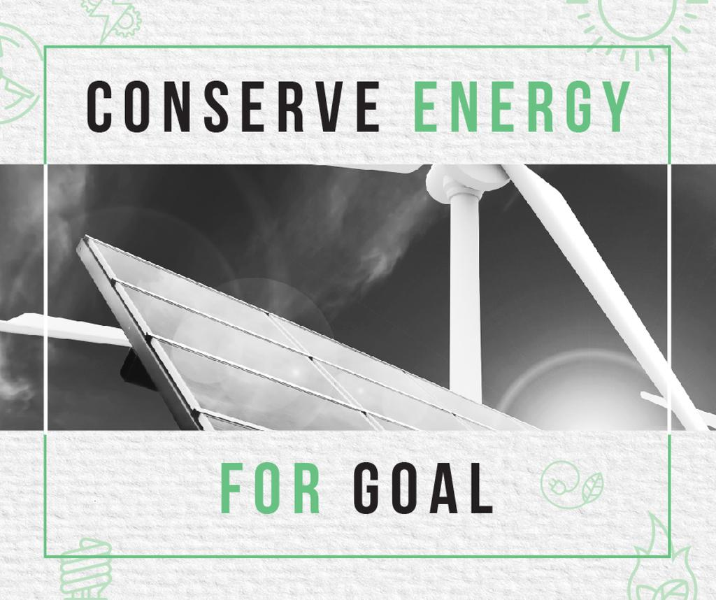 Green Energy Wind Turbines and Solar Panels | Facebook Post Template — Crear un diseño