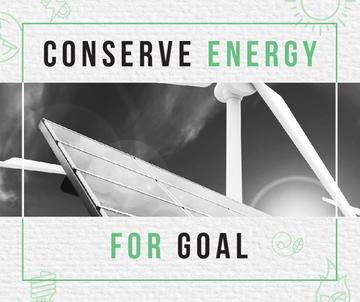Green Energy Wind Turbines and Solar Panels | Facebook Post Template